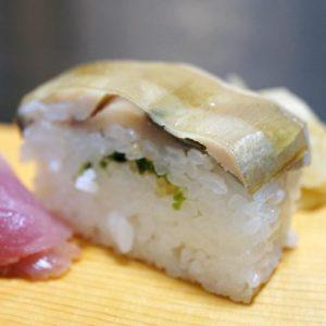 博多割烹 州二郎 季節の旬にぎり寿司5貫セット バッテラ