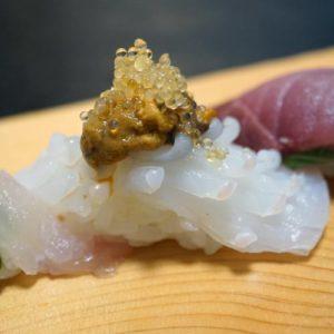 博多割烹 州二郎 季節の旬にぎり寿司5貫セット ヤリイカのウニのせ